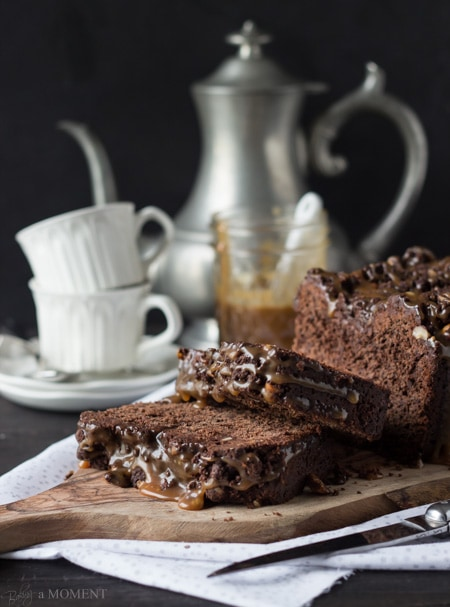 Chocolate Hazelnut Streusel Bread with Salted Caramel Drizzle   Baking a Moment