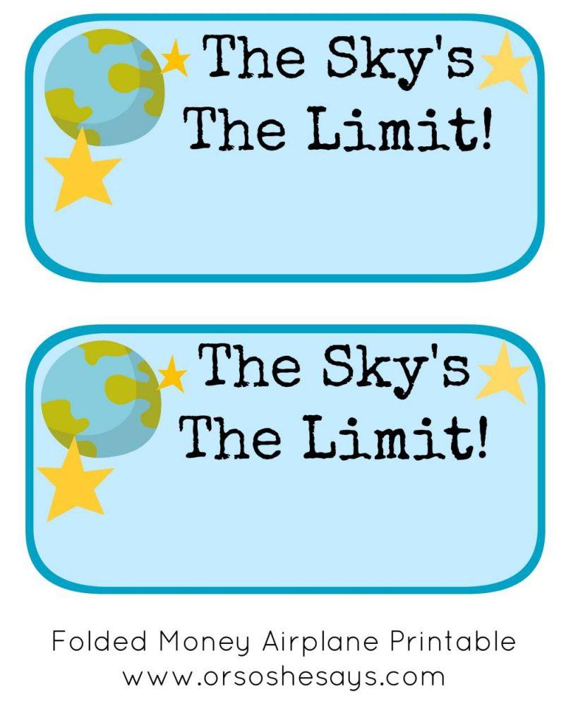 Money Airplane Graduation Gift