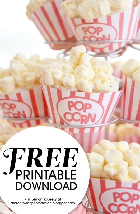 graphic regarding Popcorn Printable named Cupcake Popcorn Wrapper No cost Printable (she: Sharon)