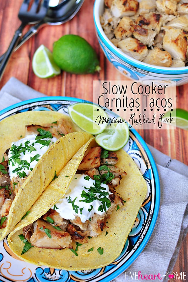 Slow Cooker Carnitas Tacos ~ Mexican Pulled Pork | FiveHeartHome.com