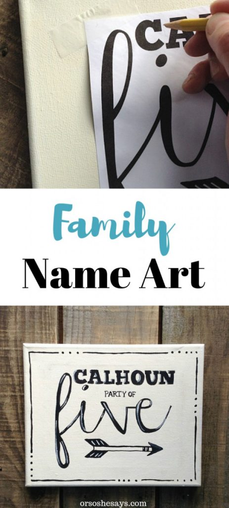 An easy transfer trick makes it easy to create this DIY family name art for your home. orsoshesays.com #DIY #homedecor #familyname #art