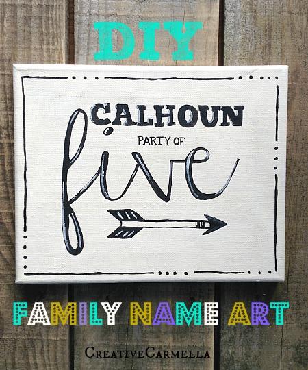 DIY painted family name art