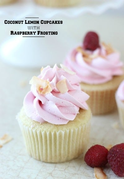 Coconut Lemon Cupcakes with Raspberry Frosting