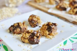 No-Bake Peanut Butter Chocolate Chunk Cookies | FiveHeartHome.com for OneSheTwoShe.com
