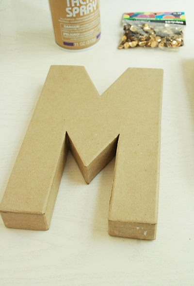 This is a fun, easy project making a sequin monogram letter. Get the how-to on www.orsoshesays.com #sequin #monogramletter #monogram #personalized #DIY #craft