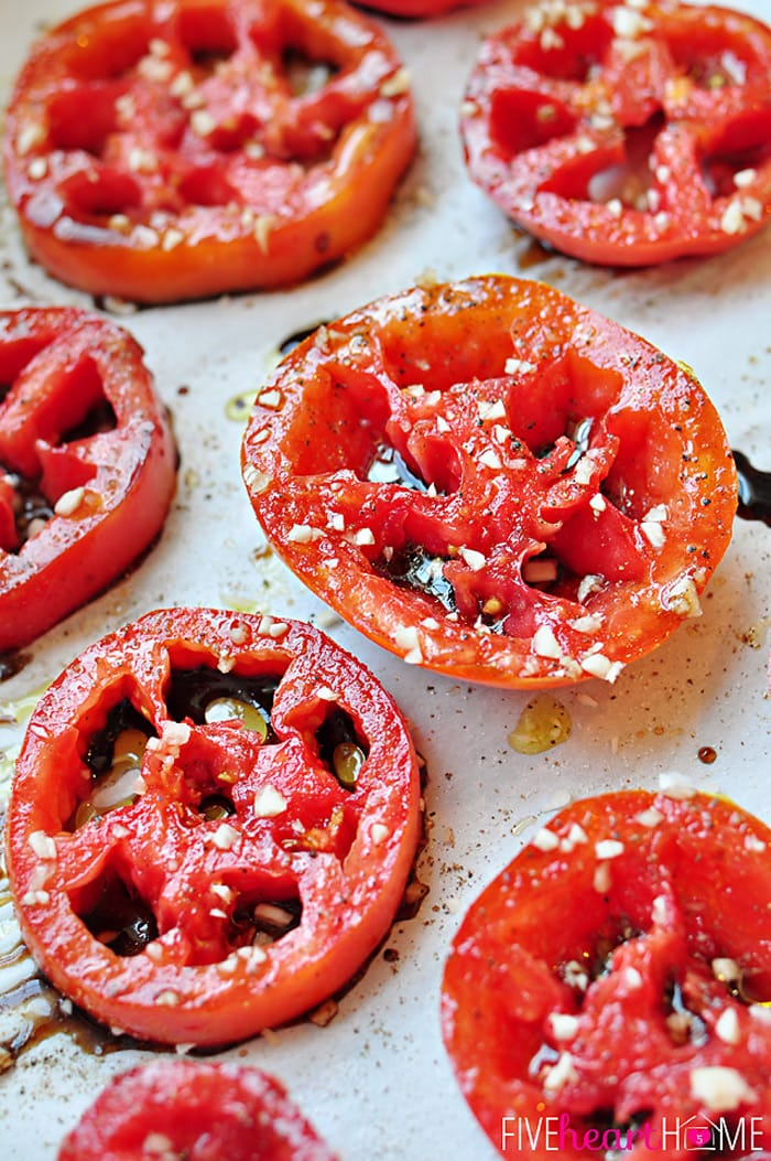Balsamic Roasted Tomatoes | FiveHeartHome.com for OneSheTwoShe.com