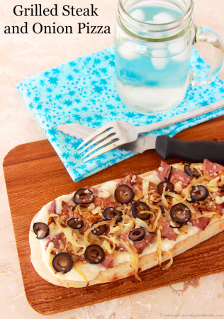 Grilled Steak and Onion Pizza by www.whatscookingwithruthie.com