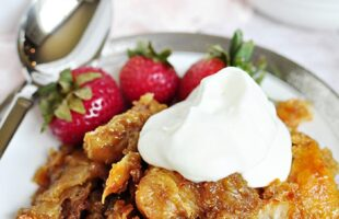 Easy Caramel Croissant Bread Pudding | FiveHeartHome.com for OneSheTwoShe.com