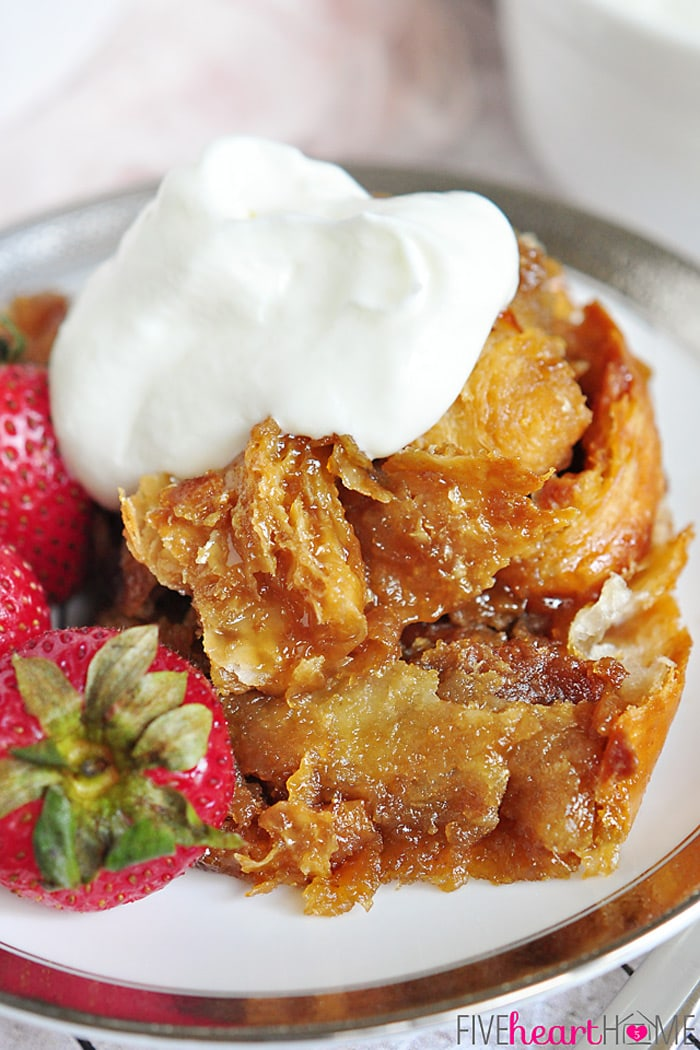 Easy Caramel Croissant Bread Pudding | FiveHeartHome.com for OneSheTwoShe.com