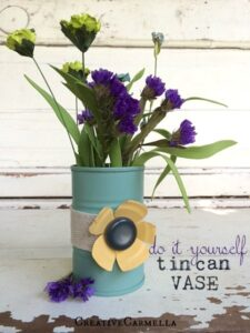 Tin Can Vase for Flowers or Art Supplies (she: Carmella)