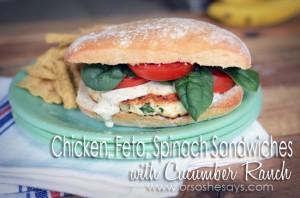 Chicken Feta Spinach Sandwiches with Cucumber Ranch