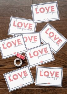 Love Note Printables for National Love Note Day (she: Anne)