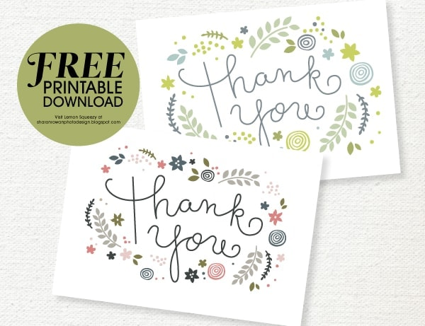 Playful image inside printable thank you card