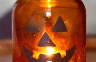mason jar jack-o-laterns