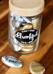 Thankful Jar with Metallic Rocks (she: Anne)