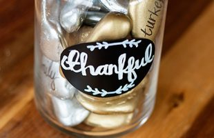 Thankful Jar with Metallic Rocks (she: Anne)