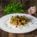 Persian Chicken (Fesenjan) with Pomegranate Jewels - An impressive freezer recipe made with ground nuts and pomegranate molasses. Ready in 40 minutes.