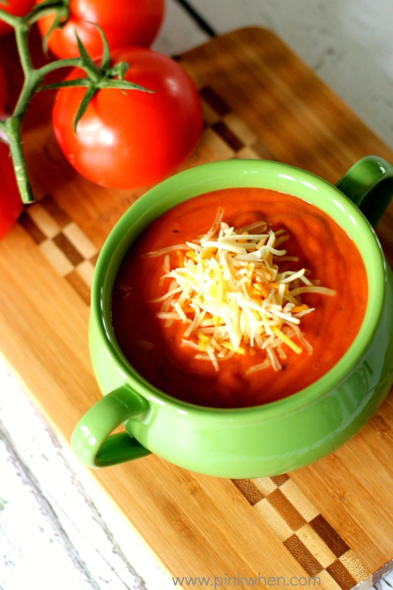 Rich Roasted Tomato Basil Soup Recipe (she: Jen from PinkWhen)