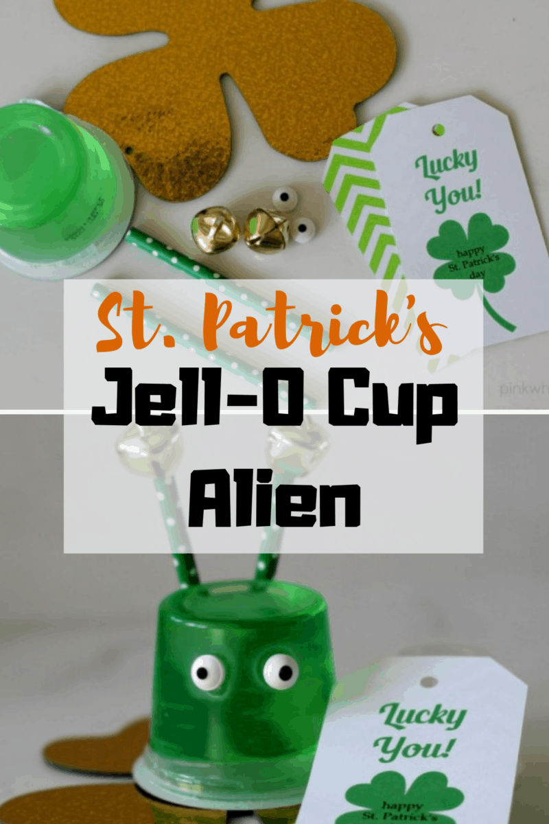 St. Patrick's Day Jell-O Cup Aliens ~ Makes cute craft, gift, or snack! www.orsoshesays.com