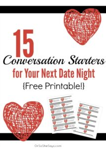 15 Conversation Starters for Your Next Date Night {Plus a Free Printable!} (she: Victoria)