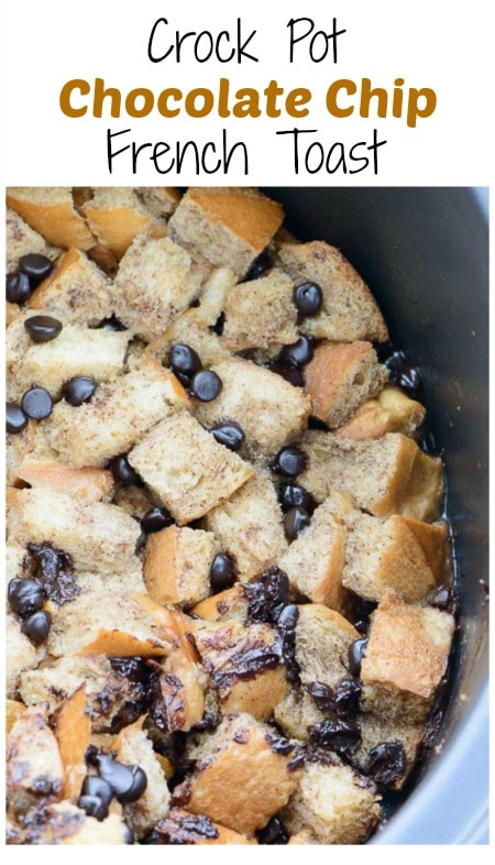 Crock Pot Chocolate Chip French Toast - French toast just got so much much better with this easy crock pot version. It's bite size and fun to eat!
