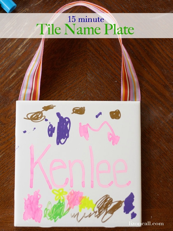 15 minute tile name plate kid craft