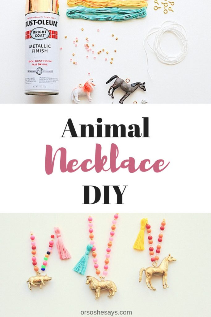 To kick off our summer crafting fun, we decided to make some whimsical little animal necklaces. Its a simple, kid-friendly project that you can help them make in under an hour! www.orsoshesays.com #diy #animal #necklace #animalnecklace #crafts #craftsforkids