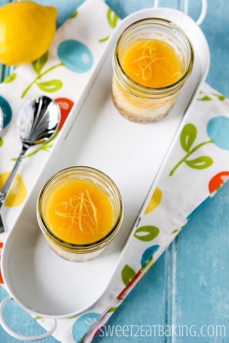 Individual Lemon Curd Cheesecakes by Sweet2EatBaking.com
