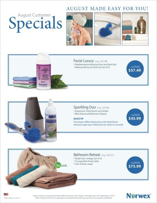 Norwex August 2015 Customer Specials