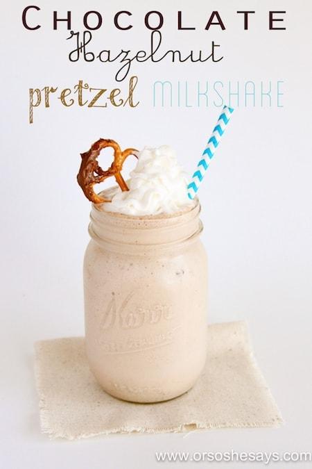 chocolate hazelnut pretzel milkshake