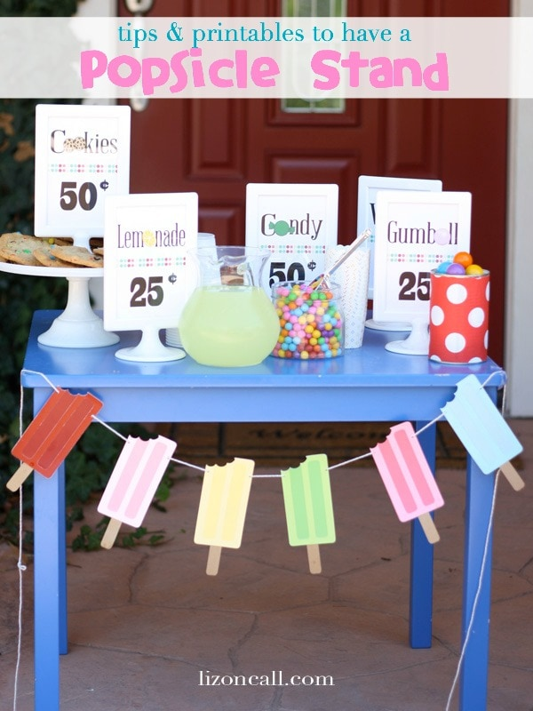 tips and free printables how to host a popsicle stand.  Fun twist on typical lemonade stand.  Fun activity for kids during the summer.
