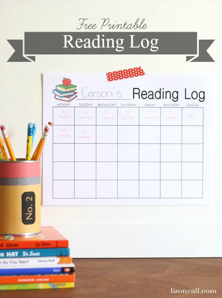 Free Printable reading log to keep track of kids' progress