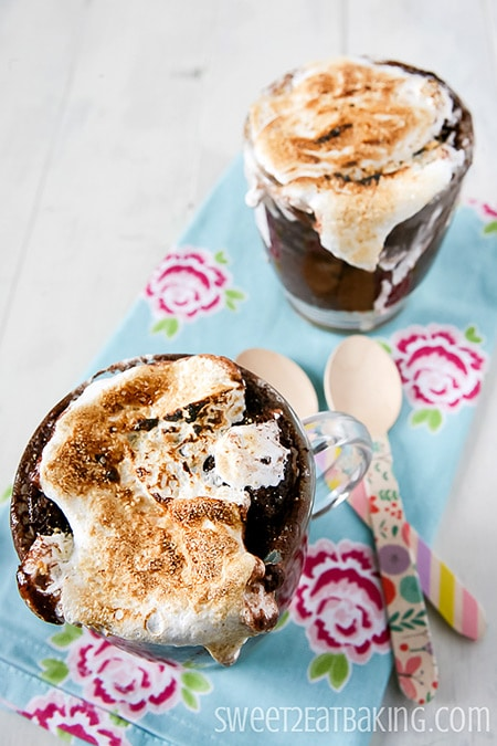 Chocolate Fudge S'mores in a Mug by Sweet2EatBaking.com
