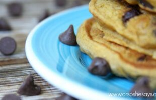 Pumpkin Chocolate Chip Pancakes...made with a mix! Just add a few ingredients and you have a hot, homemade breakfast that tastes like Fall!
