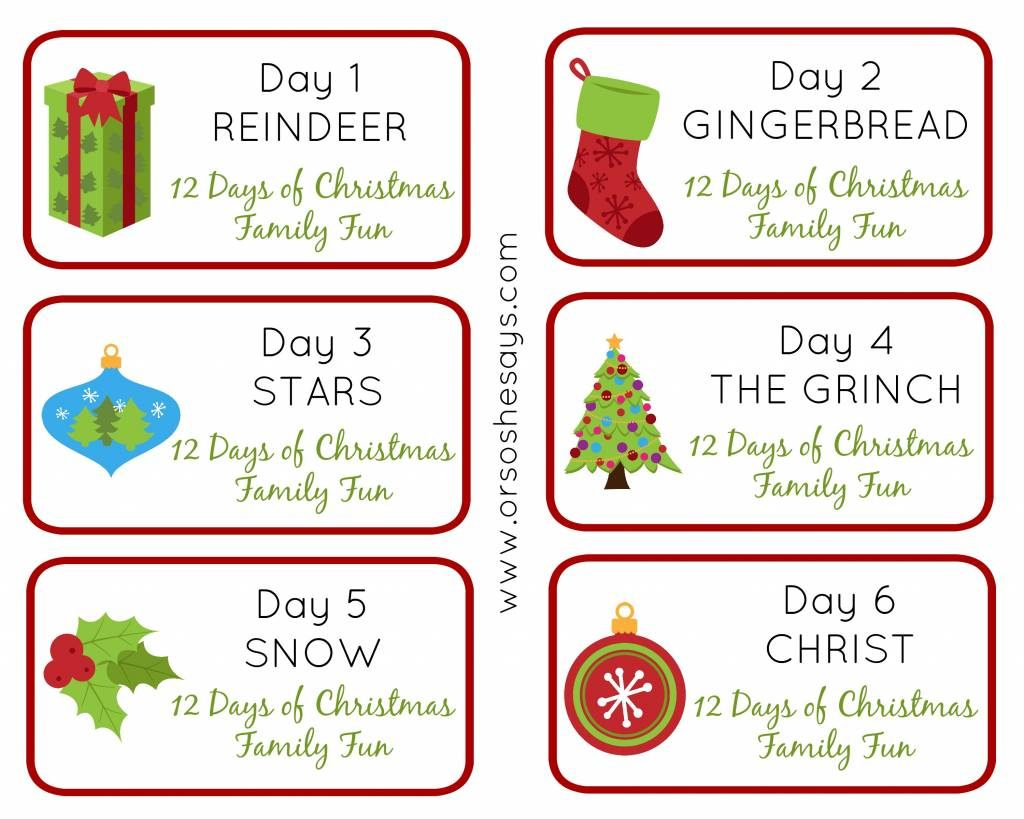 12 Days of Christmas Family Fun ~ Days 1-6 Theme Tags