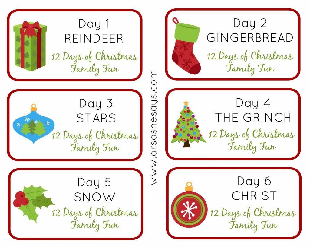 12 Days of Christmas Family Fun ~ Days 1-6 Theme Tags