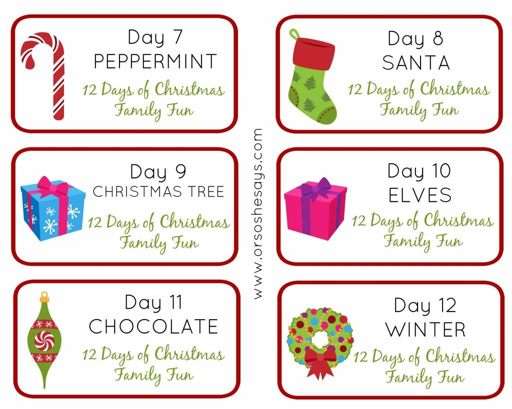 12 Days of Christmas Family Fun ~ Theme Tags Days 7-12