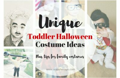 I'm so excited about this post! Halloween is my absolute favorite holiday. Here are a few unique toddler Halloween costume ideas, and some tips and tricks for creating them! #halloween #uniquetoddlerhalloweencostumeideas #halloweencostumes #familycostumes #diy #ldsblogger #lds #mormonblogger #mormon www.orsoshesays.com