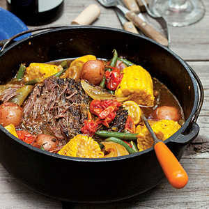 Dutch oven braised beef and vegetables