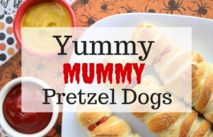 Mummy Pretzel Dogs - The Perfect Halloween Dinner for Kids! www.orsoshesays.com #halloween #recipe #hotdogs #trickortreat