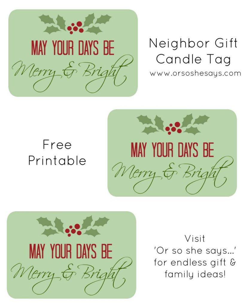 Gift Tags for Candles ~ Christmas Neighbor Gift (also, how to make beeswax candles with kids!)