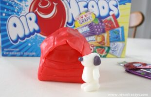 Make a snoopy dog house with your kiddos using Airheads candy