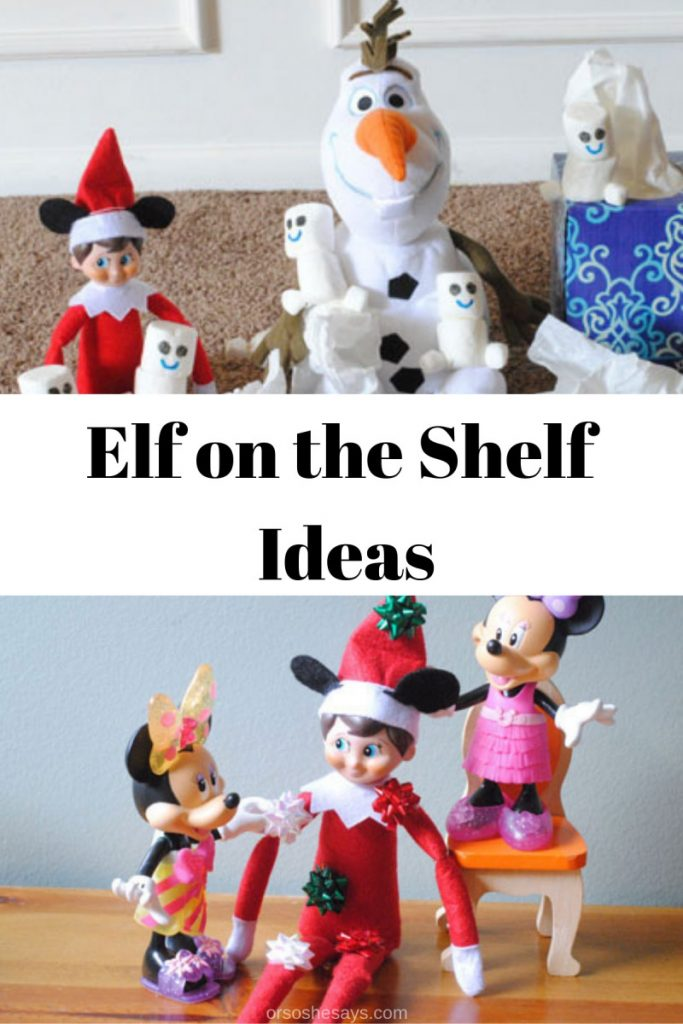 Adelle has put a spin on a popular Christmas tradition and is sharing Elf on the Shelf Disney Style today! Get all her ideas on www.orsoshesays.com. #elfontheshelf #disney #disneyelfontheshelf #elfontheshelfideas #elf #christmas #familytraditions