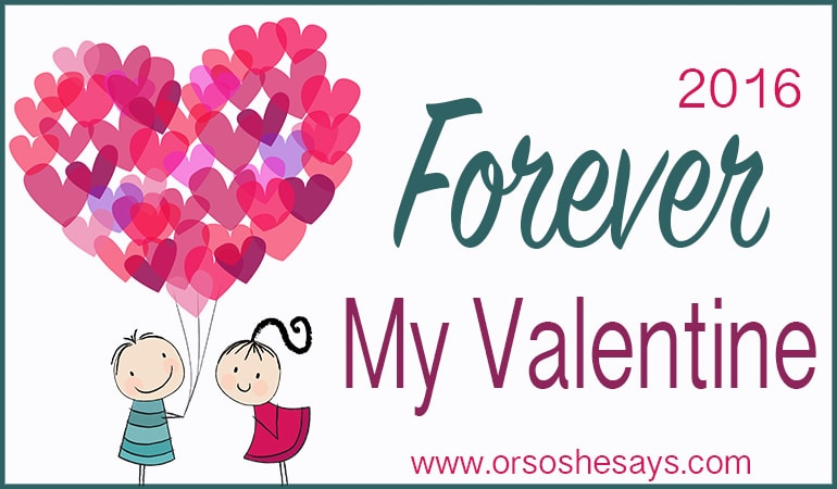 I love this Valentine's series!  A glimpse into the love life of random 'Or so she says...' readers.  They share their favorite gifts to/from their spouse, dream get-aways, what makes them work, and so much more.  So fun to read!  Forever My Valentine www.orsoshesays.com