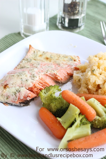 Lemon Parmesan Salmon baked to perfection!!  Perfect family dinner!  www.orsoshesays.com