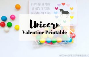 Unicorn Valentine Printable - A fanciful way to show you love someone this Valentine's Day! Perfect for class parties, and can be filled with a variety of colorful treats. www.orsoshesays.com #valentine #valentinesday #unicornvalentine #unicorn #freeprintable #freevalentine