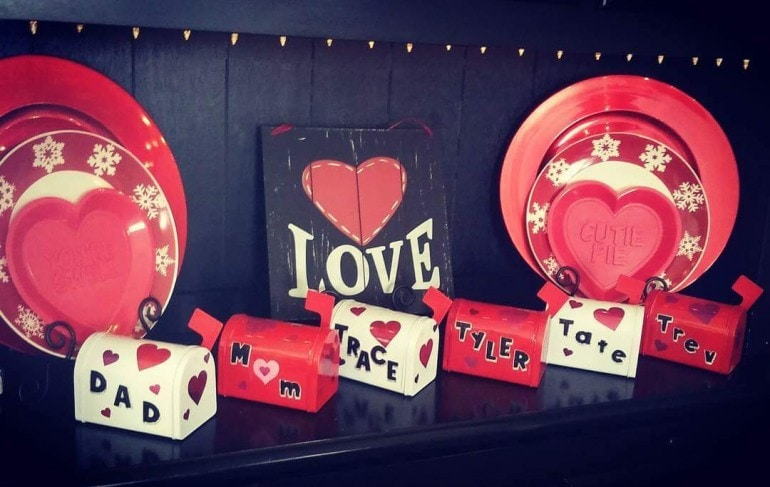 """Nontraditional Valentine Ideas - Dan's four sons enjoy giving """"love"""" notes to one another in these mailboxes (even if it is just a note about not farting on each other)."""
