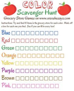 Grocery Store Games! ~ Color Scavenger Hunt