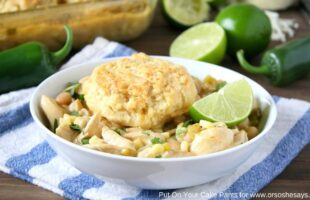 White Chicken Chili with Mozzarella Biscuits (she: Mara)