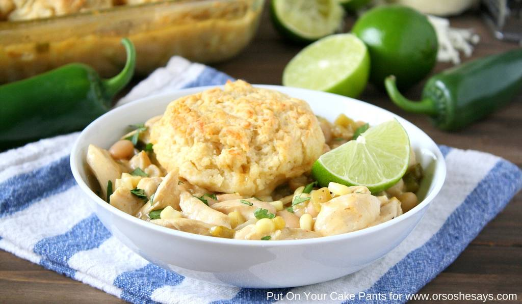 white chicken chili with mozzarella biscuits